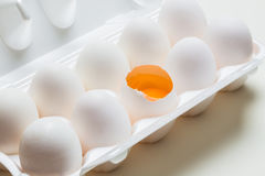 Chicken eggs in the cassette box Stock Photography