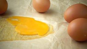 Chicken eggs. Egg yolk on paper background stock video