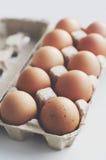 Chicken eggs in craft box Stock Photo
