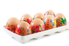 Chicken eggs decorated by children for easter Stock Images