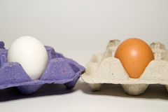 Chicken eggs of different colors in the package for sale Royalty Free Stock Image