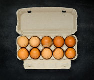 Chicken Eggs in Egg Carton Box Stock Image