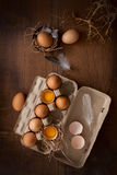 Chicken eggs flat lay still life rustic with food stylish Stock Photography