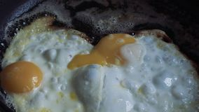 Chicken eggs fry in butter in a pan.  stock video