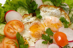 Chicken eggs with greens macro isolated Royalty Free Stock Photography