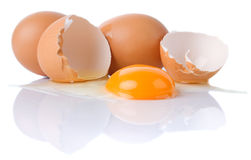 Chicken eggs isolated on white Stock Images