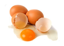 Chicken eggs isolated on white Royalty Free Stock Photos
