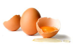 Chicken eggs isolated on white Stock Photo
