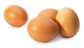 Chicken eggs isolated on the white background Royalty Free Stock Photos