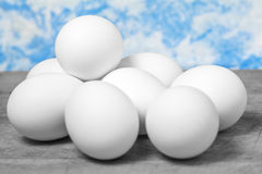 Chicken eggs on kitchen table Stock Image