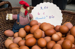 Chicken eggs in a market in Provence. France Stock Photos