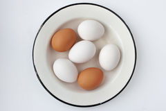 Chicken eggs in a metall dish on the white background Royalty Free Stock Photo