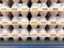 Chicken eggs in plastic packing in the store. Studio Photo Royalty Free Stock Photography