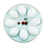 Chicken eggs on a plate Royalty Free Stock Photography
