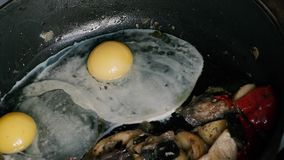 Chicken eggs with potatoes and vegetables roasting in a pan.  stock video footage
