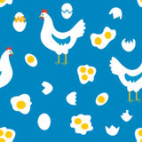 Chicken and eggs seamless pattern, funny design Royalty Free Stock Photo