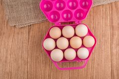 Chicken eggs closeup. homemade eggs chicken. Chicken eggs on the table. Cooking amlet. fresh eggs. the birth of little chickens royalty free stock image