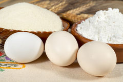 Chicken eggs and wheat products Stock Image