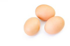 Chicken eggs on white background. Top view stock images