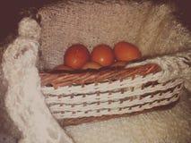 Куриные яйца в плетеной корзине Stock Image