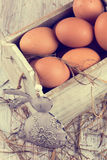 Chicken eggs in wooden box. Easter postcard. Stock Photography