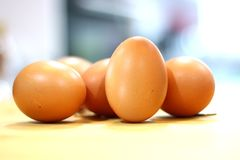 Chicken eggs on wooden kitchen table royalty free stock photography