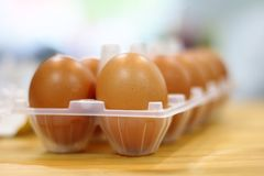 Chicken eggs on wooden kitchen table stock images