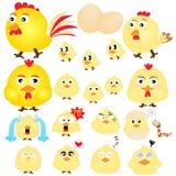 Chicken Emotions Set. Animal Set Chicken Emotional Set Royalty Free Stock Photography