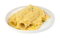 Chicken enchiladas with rice and cheese sauce Royalty Free Stock Photo