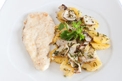 Chicken escalope with mushrooms Royalty Free Stock Photography