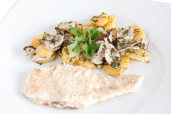 Chicken escalope with mushrooms Stock Image