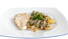 Chicken escalope with potatoes Royalty Free Stock Photo