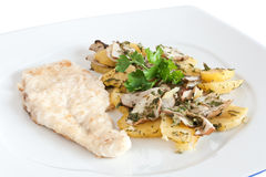 Chicken escalope with potatoes Royalty Free Stock Image