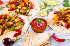 Chicken Fajita with Avocado, Lime, Pita bread, Bell Pepper Royalty Free Stock Images