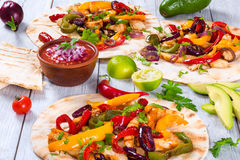 Chicken Fajita with Avocado, Lime, Pita bread, Bell Pepper Royalty Free Stock Photo