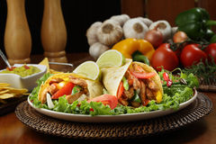 Chicken fajita  with guacamole and tortillas Royalty Free Stock Photos