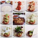 Healthy Chicken Fajita Compilation Royalty Free Stock Photography
