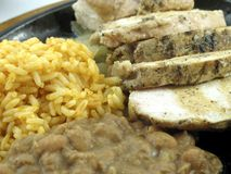 Chicken fajita with rice and beans Royalty Free Stock Photo