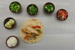 Chicken Fajita with Toppings stock photos