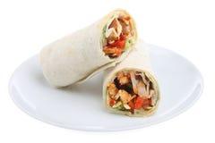Chicken Fajita Wrap. Chicken fajita in a soft tortilla wrap Stock Photos