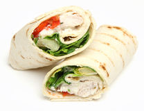 Chicken Fajita Wrap Sandwich Isolated. Chicken fajita wrap sandwich on white Royalty Free Stock Photo