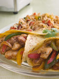 Chicken Fajita Wraps with Jambalaya Royalty Free Stock Photography