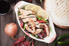 Chicken fajitas with grilled vegetable Stock Images