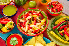 Chicken fajitas mexican guacamole pico gallo chili. Chicken fajitas with mexican food guacamole pico de gallo chili peppers sauce and nachos royalty free stock photos