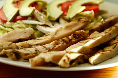 Chicken fajitas on a white plate. Chicken fajitas with vegetables on a white plate Royalty Free Stock Photo