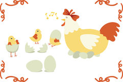 Chicken family. And color vector images Stock Photo