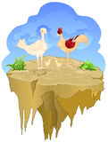 Chicken family. On floating island and blue sky back ground Stock Photos