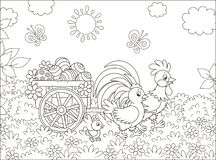 Chicken family with a cart of Easter eggs. Small wooden cart with painted eggs pulled by a rooster with a hen and their little chick, black and white vector stock illustration