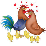 Chicken family funny animals. Funny cartoon animals - hen, rooster and chicks on white Stock Photo