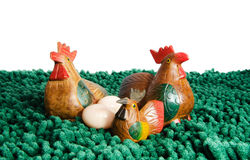 Chicken family on grass Royalty Free Stock Photography